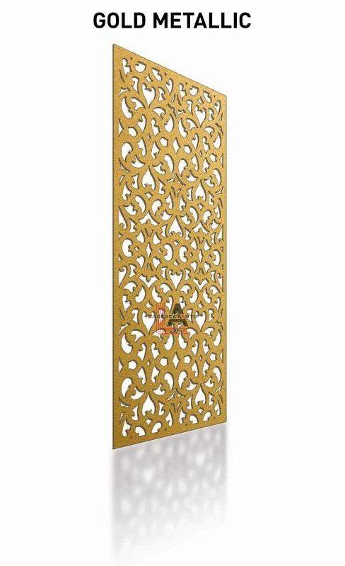 Gold Melallic Laser Cut Metal Pergola Screen Panel